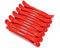 Зажим пластик для волос T&G красный 12 шт