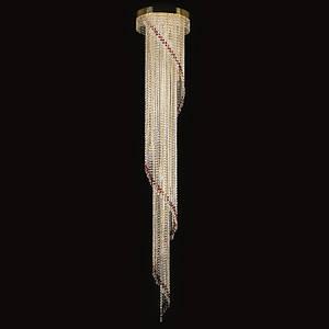 Большой хрустальный светильник SPIRAL dia. 400x2300 drops ArtGlass