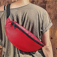 Поясная кожаная сумка бананка красная EBB1_KR