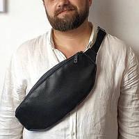 Поясная кожаная сумка бананка черная EBB1_BL