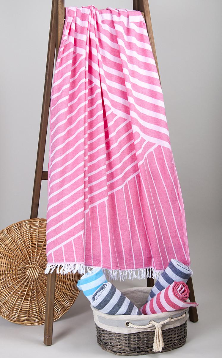 Полотенце-пештемаль пляжное Cross 95х165 розовый Barine