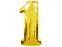 """Фольгированный шар цифра 1 золото, 40"""" (102 см) Flexmetal"""