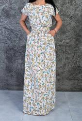 Яркое женское летнее платье в пол с цветочным принтом