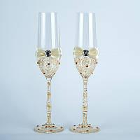 Свадебные бокалы в золотистых тонах