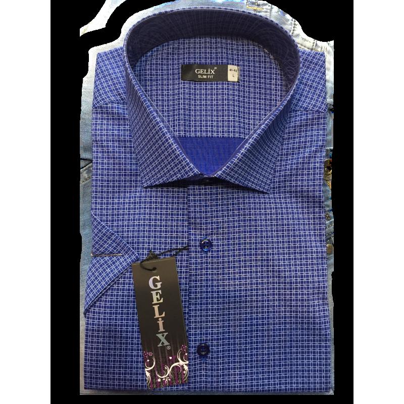 Рубашка мужская с коротким рукавом G 1239001 в мелкую клетку синяя