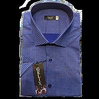 Рубашка мужская с коротким рукавом в мелкую клетку