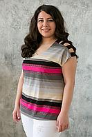 Майка с открытыми плечами малиновая, фото 1