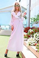 """Длинное летнее платье-халат в горошек """"LAGUNA"""" с оборками на груди (4 цвета)"""