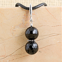 Агат черный граненый, Ø12 мм., серебро, кулон, 805КЛА