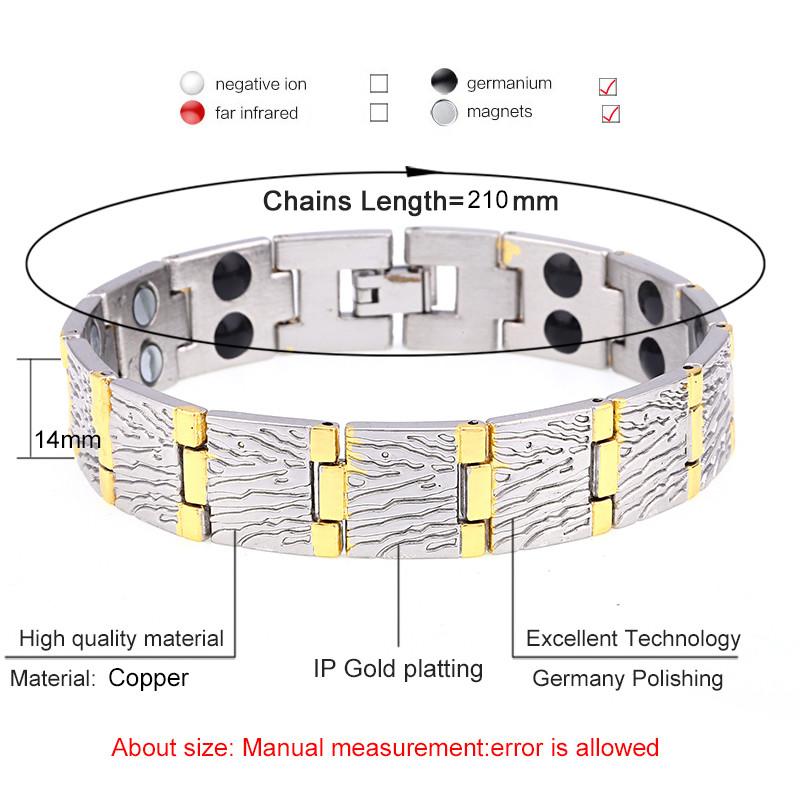 Магнитный браслет мужской с двухрядными магнитами нержавеющая сталь