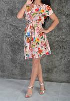 Яркое женское платье на лето с цветочным принтом