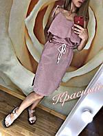 Легкое летнее платье Лён, серое, красное, 42-44, 44-46, 46-48