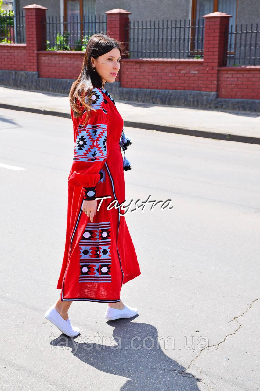 Платье лен вышитое, этно стиль бохо шик, вишите плаття вишиванка, Bohemian,стиль Вита Кин