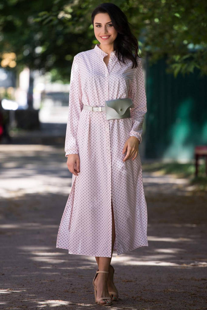 Розовое платье-рубашка ANARA