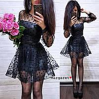 Женское нарядное платье в горошек