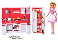 """КуклаDefa Lusy 8085, игровой набор """"Люси на кухне"""", с набором кухонной мебели и техники, посуда, продукты"""