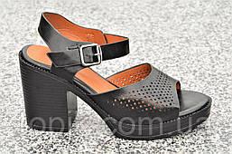 Босоножки на каблуках, платформе женские качественные мягкие черные акуратные (Код: 1198)