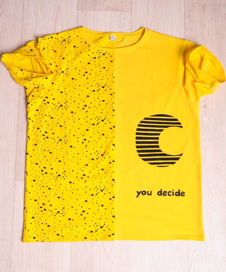 """Футболка  мужская желтая  с принтом """"you decide"""" размеры 46-54"""