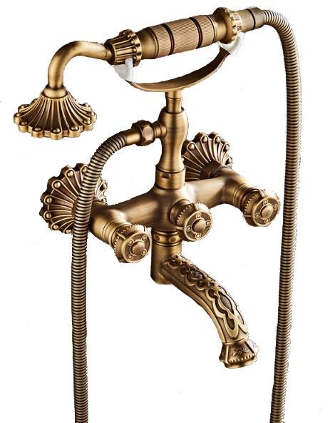 Смеситель для ванны retro 1093 с орнаментами (античная матовая латунь)