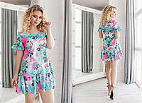 Короткое льняное женское платье с воланами. 2 цвета. Размеры : 48,50,52,54., фото 1