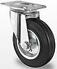 Профессиональное поворотное колесо для тележек диаметром 100 мм из стандартной черной резины