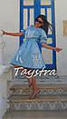 Платье голубое вышитое бохо вышиванка лен, этно, стиль бохо шик, вишите плаття вишиванка, Bohemian, фото 2