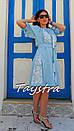 Платье голубое вышитое бохо вышиванка лен, этно, стиль бохо шик, вишите плаття вишиванка, Bohemian, фото 3
