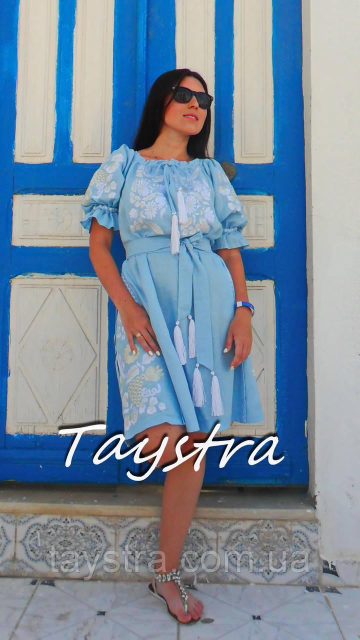 Платье голубое вышитое бохо вышиванка лен, этно, стиль бохо шик, вишите плаття вишиванка, Bohemian