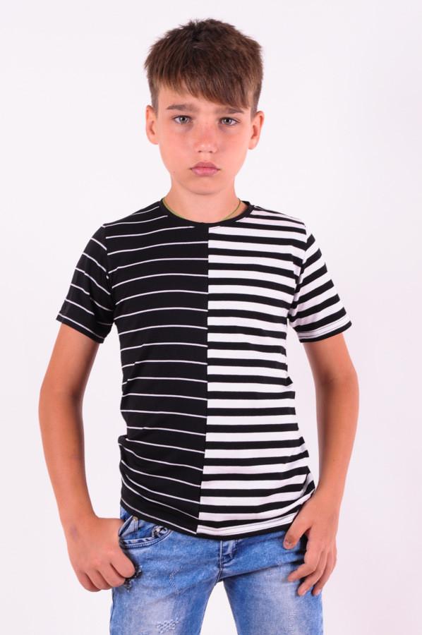 Футболка для мальчика в полоску черно-белую от 6 до 10 лет (116;122;128;134;140)