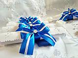 Пригласительные на свадьбу в свитках Бант (сине-белые), фото 3