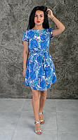 Легкое летнее женское платье с растительным узором