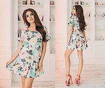 Короткое льняное женское платье с воланами. 2 цвета. Размеры : 42,44,46.