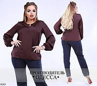 Блуза длинный рукав шелк 46-48, 50-52, 54-56