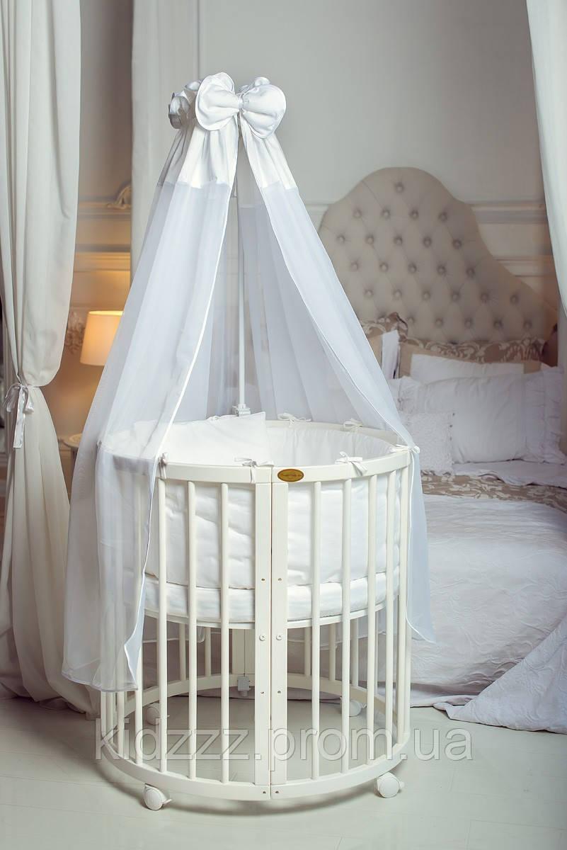 Детская кроватка-трансформер овальная 7 в 1 белая (Украина)