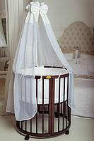 Детская кроватка-трансформер овальная 7 в 1 ореховая (Украина), фото 1