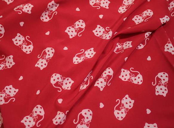 Ткань супер софт принт кошечки на красном (режем от 10 метров), фото 2