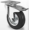 Профессиональное поворотное колесо с тормозом для тележек диаметром 100 мм из стандартной черной резины