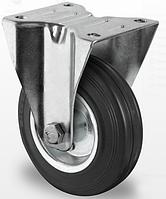 Профессиональное неповоротное колесо для тележек диаметром 100 мм из стандартной черной резины