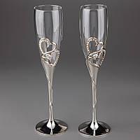 Свадебные бокалы Бриллиантовые сердца 002G-4