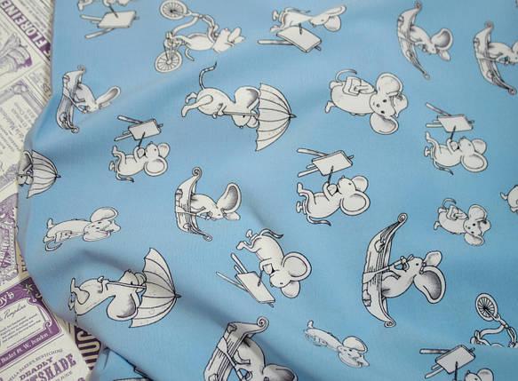 Ткань супер софт принт мышки на голубом (режем от 10 метров), фото 2