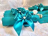 Пригласительные на свадьбу в свитках Bow (бирюзовые), фото 2