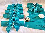 Пригласительные на свадьбу в свитках Bow (бирюзовые), фото 3