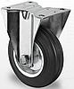Профессиональное неповоротное колесо для тележек диаметром 160 мм из стандартной черной резины