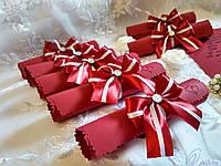 Свадебные пригласительные в свитках Bow (марсала с белым)