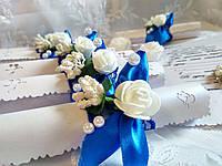 Свадебное приглашение Rose (синие)