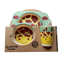 Набор посуды из бамбукового волокна Giraffe Turquoise Eco