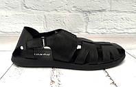 Мужские босоножки натуральные кожаные черные 0269УКМ