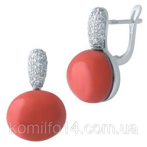 Серебряные серьги с натуральным кораллом