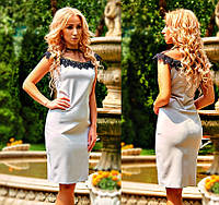 """Деловое нарядное платье """"Селин"""" из костюмной ткани, отделка кружево, светло-серый р.С.М.Л.ХЛ.ХХЛ.52,54"""