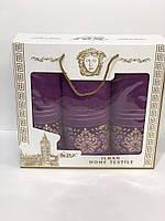 Набор полотенец в подарочной коробке Турция тройка Versace